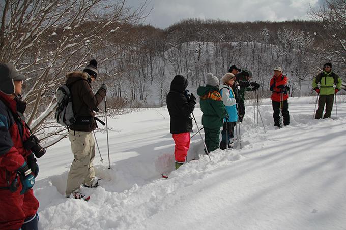 スノーシューでも一歩一歩が重い雪中行