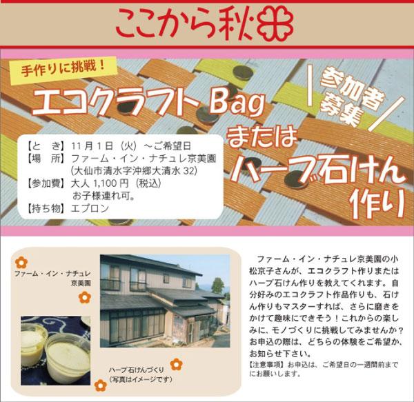【ここから秋田】エコクラフトBagまたはハーブ石けん作り体験